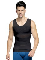 Streamlined Black Sheer Mesh Wide Straps Crossover Men's Tank Tight