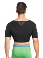 Supper Fashion Black Short Sleeves Crop Male Shaper Top Fitness