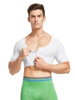 Durable White Mesh Zipper Mens Cropped Shapewear Tight Fitting