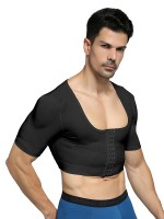Medium Control Black Man Cropped Shapewear 3 Rows Hooks Beautiful Addition