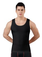 Meticulous Design Black Seamless Men's Tank Round Collar Breathable