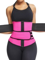 Rose Red Neoprene Sauna Waist Trainer Double Belts Plus Size
