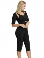 Lifted Open Bust Arm Compress Bodysuit Shaper Zip Front