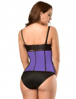 Irresistible Purple Neoprene Waist Shaper Zipper Closure Outer 6 Bones