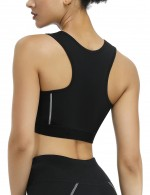 Slim Waist Gray Zipper Front Neoprene Wire-Free Sport Bra Compression