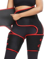 Red Neoprene 2-In-1 Waist And Thigh Shaper Abdominal Control
