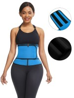Blue Big Size Neoprene Waist Trainer Front Zipper Compression