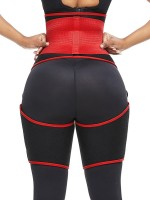 Red Neoprene Adjustable Thigh And Waist Trainer Flatten Tummy