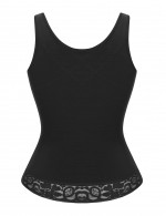 Black Lace Trim Wide Strap Full Body Shaper Breasted Body Sculpting
