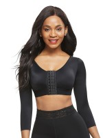Figure Compression Black Crop Shapewear 3-Row Hooks Plus Size Intant Shaping