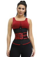 7 Steel Boned Leopard Print Latex Waist Trainer Calories Burning