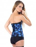 Smoothing Camouflage Steel Bones Latex Waist Cincher Corset
