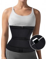 Black Latex Double Belt Plus Size Waist Trainer 7 Steel Bones Curve Shaping