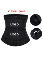 Black Latex Double Belt Plus Size Waist Trainer With Pocket