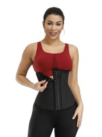Black 3 Rows Hooks Latex Waist Cincher Belt Tummy Training