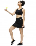 Popularity Black Hidden Pocket Skirt Solid Color Pleated Ladies