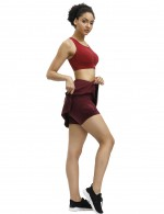Jujube Red A-Line Zip At Back Pocket Pleated Skirt For Women Runner