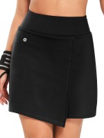 Inviting Black High Waist Tennis Skirt With Pocket Lightweight