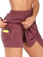 Stylish Wine Red Headphone Hole Tennis Skirt High Rise For Running