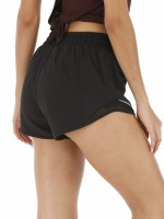 Absorbing Black Zipper Pocket Sheer Mesh Gym Shorts Fashion Style
