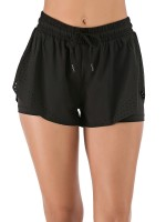 Awesome Black Sports Shorts With Lining Eyelet Design Aerobic Activities