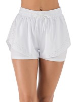 Cool White Running Shorts Solid Color Drawstring Sheath