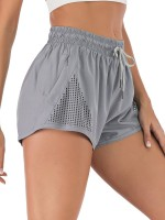 Uniquely Gray Double-Layer Side Pocket Athletic Shorts Leisure Wear