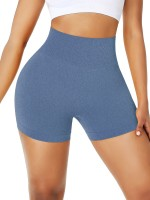 Svelte Style Blue Solid Color Sports Shorts Thigh Length For Women