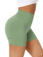 Brightly Grass Green Wide Waistband Sports Shorts High Rise Cheap