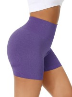 Ultimate Fit Dark Purple Sports Shorts High Waist Solid Color Weekend Time