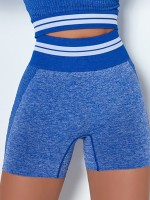 Blue Colorblock Stripe Sports Shorts Seamless Casual Look