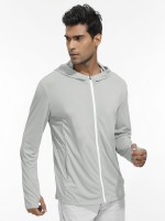 Fiercely Light Gray Side Pockets Sport Top With Zipper Soft-Touch