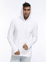 Sophisticated White Sport Shirt With Zipper Full Sleeves Workout