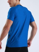 Tailored Blue Round Collar Athletic Top Solid Color Workout Apparel