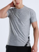 Slinky Light Gray Letter Print Short Sleeve Sports Top Essentials