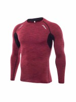 Daring Red Long Sleeve Men's Athletic Top High Elasticity