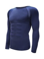 Boldly Dark Blue Crew Neck Moisture Wicking Running Top High Quality