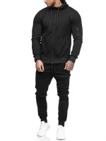 Slim Black Sweat Suit Solid Color Hooded Neck Workout Activewear