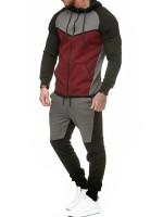 Bewitching Wine Red Plus Size Hooded Zipper Activewear Set
