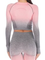 Fascinating Peach Pink Yoga Top Full Sleeve Round Collar Athletic Outfit