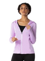 Light Purple Long Sleeves Side Pocket Hooded Top Delightful Garment