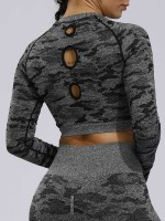 Stylish Black Camouflage Paint Sports Top Crew Neck For Camping