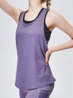 Hot Dark Purple Sports Top Crew Neck Wide Strap Ladies Elegance