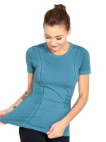 Stylish Blue Athletic Top Round Collar Seamless Smooth