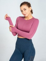 Energetic Pink Plain Thumbhole Yoga Top Long Sleeves Elasticated