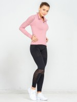 Awesome Pink Ruffle Trim Zipper Mesh Sport Top Slim Fit