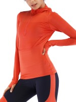 Royal Orange Zipper Sports Top Thumbhole Full Sleeve With Stylish Design