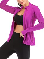 Unvarnished Purple Side Pockets Sheer Mesh Sports Top Women Fashion Style
