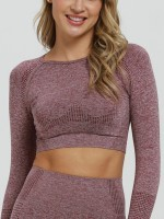 Simplicity Wine Red Crew Neck Running Cropped Top Seamless