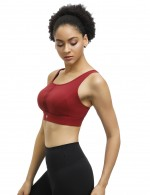Charming Wine Red Sports Bra Solid Color Cross Strap Back